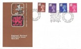 1971 2½p, 3p, 5p, 7½p, Welsh Regional stamps, Post office Wales FDC, First Day of Issue Swansea H/S