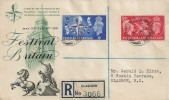 1951 Festival of Britain, Registered PTS/BPA FDC, Registered Glasgow cds