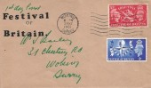 1951 Festival of Britain, Display FDC, Woking Surrey Cancel
