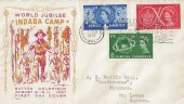 1957 Scout Jubilee Jamboree Indaba Camp ALPHIL Illustrated  FDC, World Scout Jubilee Jamboree Sutton Coldfield Slogan