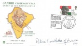 1969 Gandhi, Stuart FDC, Gandhi Centenary Year HCRC Exhibition London E8 H/S, Signed by Patricia Mountbatten of Burma in 1991