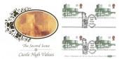 1992 £1, £1.50, £2, £5 High Value Castle Definitive Issue Cross Gutter Blocks, Set of 4 Benham D176 FDC's. Carrickfergus, Caernarvon, Edinburgh & Windsor H/S's