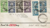 1951 ½d, 1d, 2d, 3d, 4d, 1s Set of 6 Postage Dues in Pairs Overprinted Southern Rhodesia, Display FDC, Salisbury Rhodesia cds