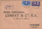 1946 Victory Tangier Overprinted, Registered Coriat FDC, Registered British PO Tangier Oval cds