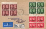 1940 Postage Stamp Centenary, ½d, 1d, 1½d Blocks of 4 Tangier Overprint, Registered Plain FDC, British Post Office Tangier cds