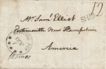 1807 Ship Letter Entire from Paddington London to Portsmouth New Hampshire America Boston M9 Receiving mark
