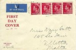 1936 King Edward VIII 1d x 4 Definitive Issue, Noble Burrows Oxford FDC, Oxford Cancel, Correct air Mail rate to Malta