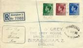 1936 King Edward VIII ½d, 1½d, 2½d Definitive Issue, Registered Display FDC, Birmingham BO cds