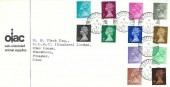 1971 QEII ½p to 9p 12 Values Definitive issue, OLAC Labs Limited FDC, Blackthorn Bicester Oxon. cds