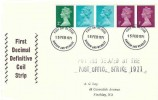1971 QEII Multi Value 5p Horizontal Coil, Illustrated FDC, Harrow Wembley FDI, + Posting Delayed by the Post Office Strike 1971 Cachet