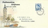1957 Parliamentary Conference, Amanda J Skinner Hand Painted FDC, South Beddington Wallington Surrey cds