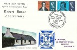 1966 Robert Burns, Connoisseur FDC, That Man to man The Warld O'er Shall Brothers be for A' that Mauchline Ayrshire H/S, tied Now's the day & now's the hour Free Scotland Label