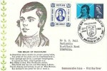 1966 Robert Burns, Belles of Mauchline Card FDC, 4d Byrns stamp only Mauchline Ayrshire H/S. Robert Burns Scotland one Groat Label