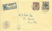 1938 King George VI  4d Grey Green & 5d Brown Definitive Issue, Registered  Illustrated FDC, Guernsey Channel Islands cds