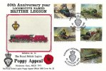 1985 Famous Trains, British Legion Poppy Appeal Official FDC, Railway Locomotives British Legion Maidstone Kent H/S