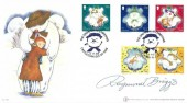 2003 Isle of Man Christmas, Buckingham Covers 40a FDC, The Snowman at Christmas Castletown Isle of Man H/S, Signed by Raymond Briggs