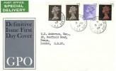 1967 QEII Definitive Issue, 4d, 1/-, 1/9d, Post Office Special DElivery GPO FDC, Buckingham Palace SW1 cds