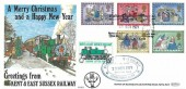 1979 Christmas, Benham RH 10 Official FDC, Father Christmas Special Kent & East Sussex Railway Tenterden Kent H/S, +15p Railway Letter stamp