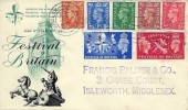 1951 Festival of Britain, BPA/PTS FDC, ½d, 1d, 1½d, 2d, 2½d New Colour Change Definitives + Commemoratives on the same cover. Hounslow Middx. Cancel & cds