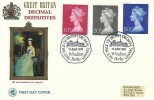 1970 QEII 10p, 20p, 50p Large Format Definitive Issue, Wessex FDC, First Issue of British Decimal Stamps Windsor Berks. H/S