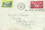 1953 Coronation, Plain FDC, 2½d stamp only, God Save the Queen Oxford Slogan + Westminster Abbey Coronation Please Help Spastics Label