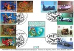 1998 Magical Worlds Double dated with 1998 Speed, GB Covers DW7 Official FDC, Child's Way London NW11 H/S & Speed House Barbican London WC2 H/S