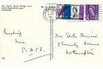 1964 Forth Road Bridge, W S Thomson Colour Postcard FDC, 3d Ordinary stamp only, Midlothian for Industrial Sites Edinburgh Slogan