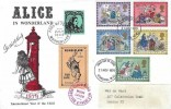 1979 Christmas, Alice in Wonderland FDC, London WC FDI + Wonderland 7 Winks too Late Postage Label