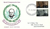 1965 Sir Winston Churchill. Rembrandt without The flags FDC, Bladon Oxford FDI