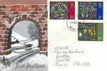 1971 Christmas, Hand Illustrated FDC, Preston Lancs. FDI