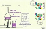 1977 Chemistry, Set of 4 Philart FDC's with Gutter pairs, Related Postmarks, Barton Richmond N.Yorks cds, Haworth Keighley West Yorkshire cds, Wigton Cumbria cds, Liverpool FDI+ Cachets