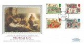 1986 Medieval Life, PSS Sotheby's Silk No.22 FDC, Oxford (Oxeneford) FDI