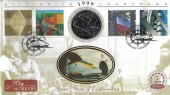 1999 Workers' Tale, Benham C36 Official 2.8 Ecus Eurotunnel Coin FDC, Workers Shipbuilding & Tunnels Green London SE10 H/S