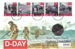1994  D Day, Westminster Official 50p Coin FDC, 50th Anniversary D Day Landings Portsmouth H/S