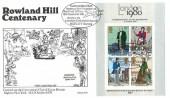 1979 Sir Rowland Hill Miniature Sheet, Benham BOCS Sp2 Official FDC, Cartoonist Club Honour the Founder of the Post Office Sir Rowland Hill London Gatwick Airport Horley H/S