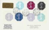 1974 Self Adhesive Labels 3p+5p, ½p+5p, ½p, 1d 1½p, Derek Warboys FDC, Wimbledon SDO SW20 cds