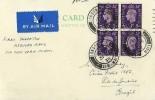 1938 Airmail Postcard, London to Rio de Janeiro Brazil Flown by Pan-American Airways Ltd, London FS Air Mail cds