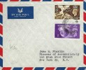 1956 Airmail Cover, Lundy Island to New York USA, Flown by Devonair and BOAC, Braunton Devon cds, Lundy Locals & Atlantic Coast Air Services Ticket on the back