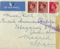 1937 Airmail Cover, Blackheath London to Madrid Spain, Flown by Imperial Airways Ltd, and Air France