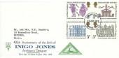1973 Inigo Jones, North Herts. Stamp Club FDC, Stevenage Herts. FDI
