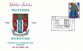 1972 Christmas, Watford Borough Council Golden Jubilee Official FDC Card, 3p stamp only, Borough Jubilee 1922-1972 Watford Herts H/S