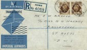 1939 First Flight Cover, First Direct Transatlantic Air Service, Flown by Imperial Airways Limited, Southampton to New York, Addressed to St.Kitts, Bodmin Cornwall cds