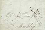 1786 Entire Letter MAN / CHESTER, Straight Line cancel divided in 2 lines, addressed to Hinckley