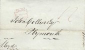 1830 Wrapper to John Collier Esq, Plymouth from Lloyds of London Lombard Street Maltese Cross Paid Cancel in Red