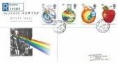 1987 Sir Isaac Newton, Registered Royal Mail FDC, Brook St. TSO Grantham Lincs. cds