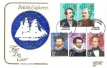1973 British Explorers, Cotswold FDC, Sir Walter Raleigh East Budleigh Exhibition Budleigh Salterton Devon H/S