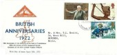 1972 General Anniversaries, North Herts. Stamp Club FDC, Stevenage Herts. FDI