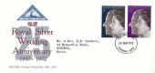 1972 Silver Wedding, North Herts. Stamp Club FDC, Stevenage Herts. FDI
