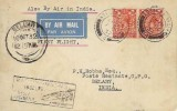 1932 First Flight Postcard, Norwich to Bellary India, Flown by Imperial Airways & T.A.T.A Ltd