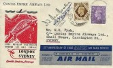 1947 First Flight Cover, London to Sydney Australia Post War, Flown by Queensland & Northern Territory Aerial Service (Quantas Empire Airways Ltd.) London FS cds